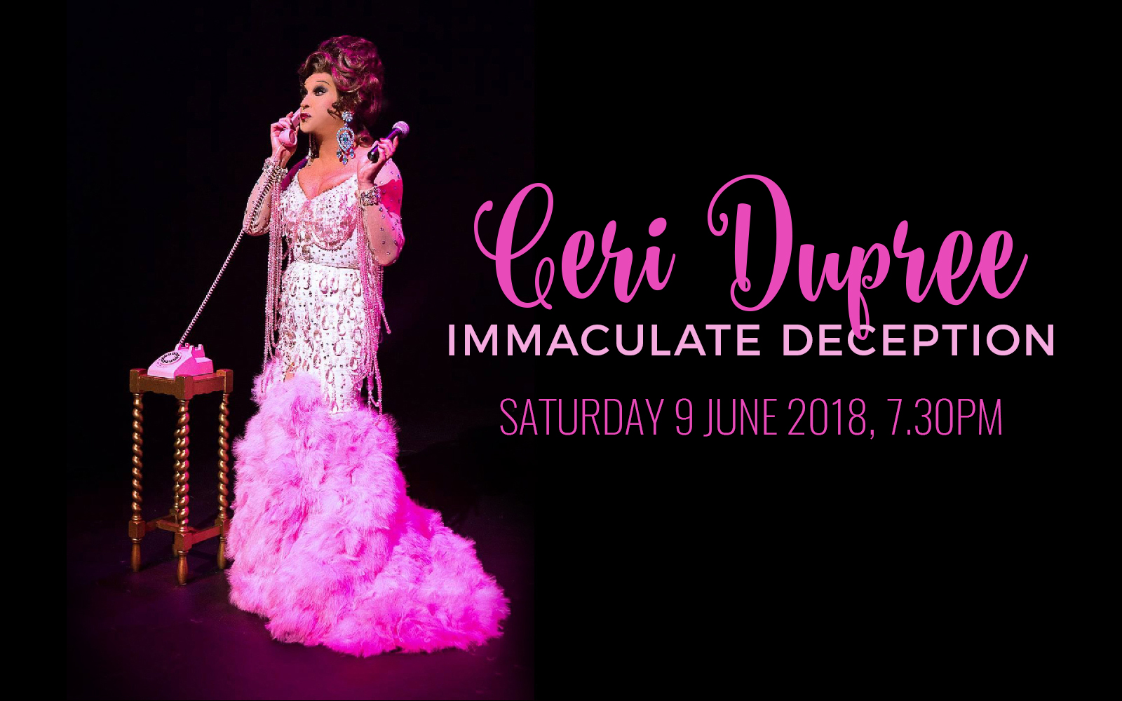 The fabulous Ceri Dupree returns to the Torch Theatre with a new one man twenty-one woman show!